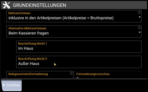 Kassen-Popup: Einstellung der alternativen MwSt.