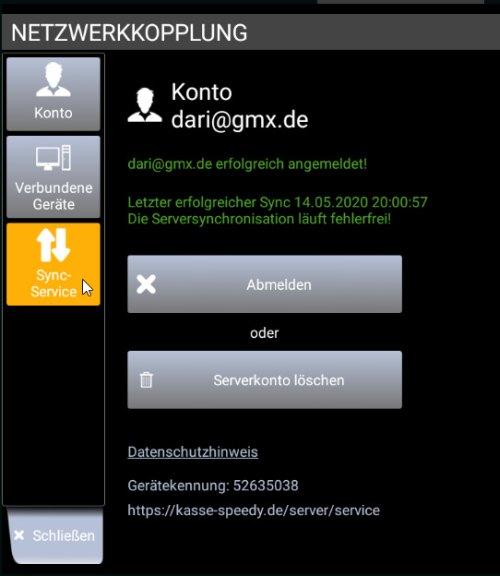 Kassen-Popup Netzwerkkopplung: Daten synchronisieren