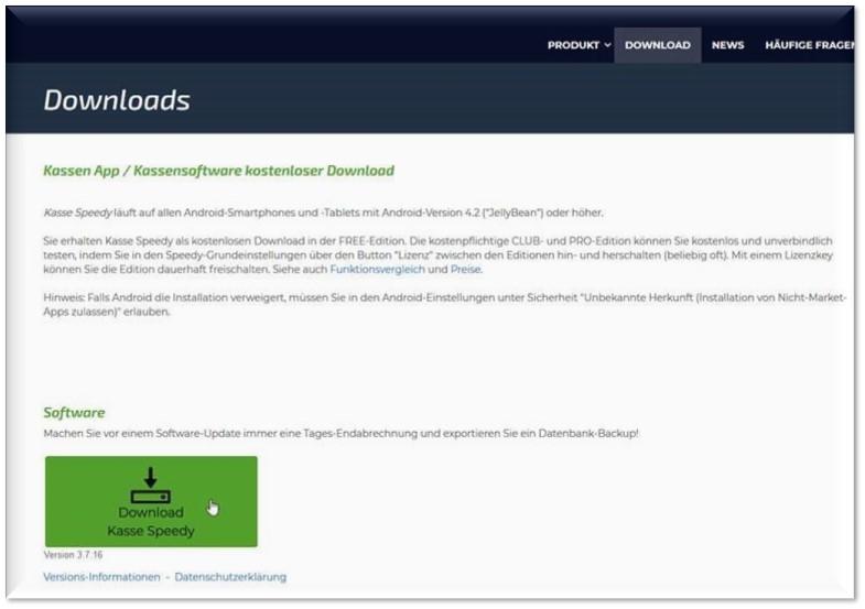 Screenshot Homepage Kasse Speedy: Update über Downloads