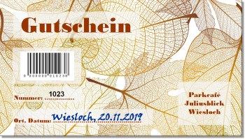 ausgefüllter Gutschein mit Barcode und aufgedruckter Nummer