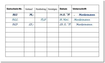 Gutscheinbuch als halb ausgefüllte Tabelle