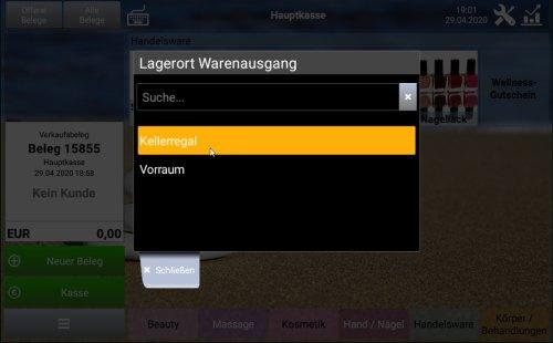 Popup zur Umlagerung von Artikeln: Wahl des Warenausgang-Lagerorts