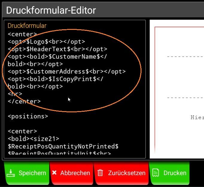 Popup Druckformular-Editor: markiert ist der Kopfbereich des bisherigen Druckformulars