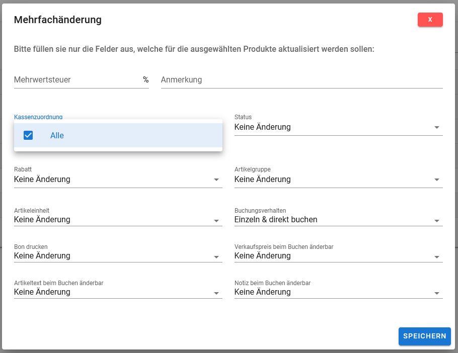 """Popup """"Mehrfachänderung"""" in der Browser-Anwendung """"Stammdaten online"""""""