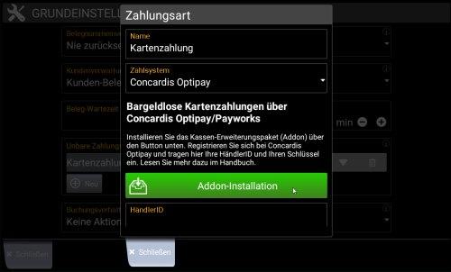 """Popup Kartenzahlung: Button """"Addon für Optipay installieren"""""""