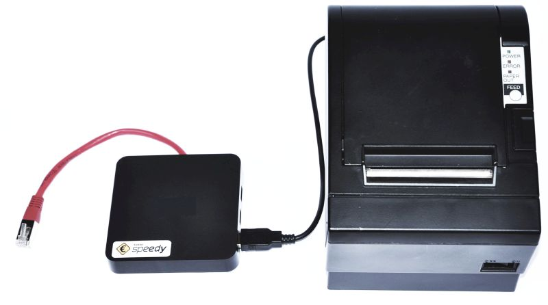 Ansicht Kasse Speedy Serverbox, angeschlossen an einen Bondrucker