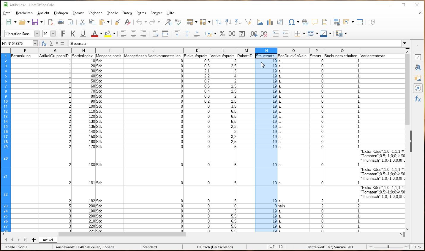 Screenshot der MWSt in LibreOffice - Artikelstamm von Kasse Speedy