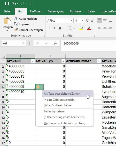 Popup: Als Text gespeicherte Zahlen in Excel