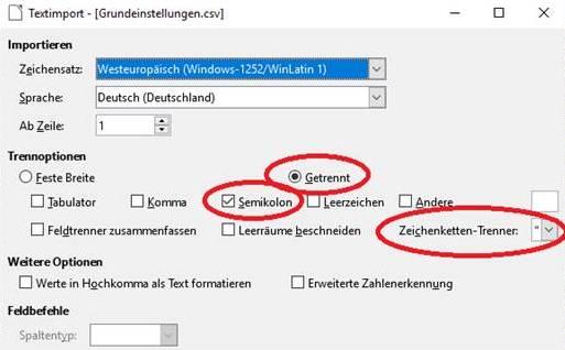 Popup am PC für die Grundeinstellungen in LibreOffice