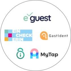 Logo von eGuest, EinCheckerin, GastIdent, iStaySafe und MyTap