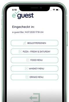 Handy mit der eGuest-Seite als Frontalbild