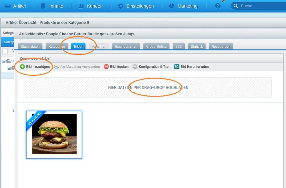 Popup von Shopware 5: in der Artikel-Übersicht Bilder hinzufügen