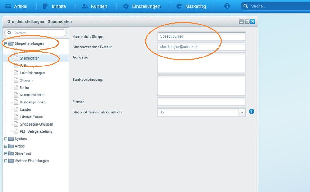 Popup von Shopware 5: Stammdaten in den Grundeinstellungen