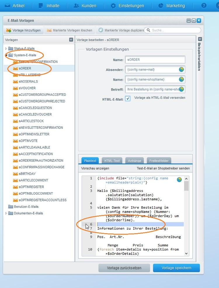 Popup von Shopware 5: Email-Vorlagen zur Eingangsbestätigung