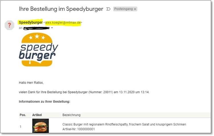 Beispiel einer Email zur Bestätigung des Bestelleingangs