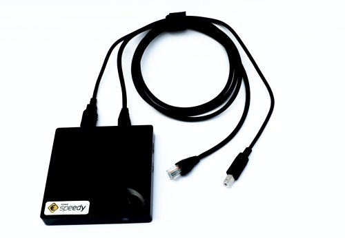 Ansicht Kasse Speedy Serverbox mit zwei Anschlusskabeln