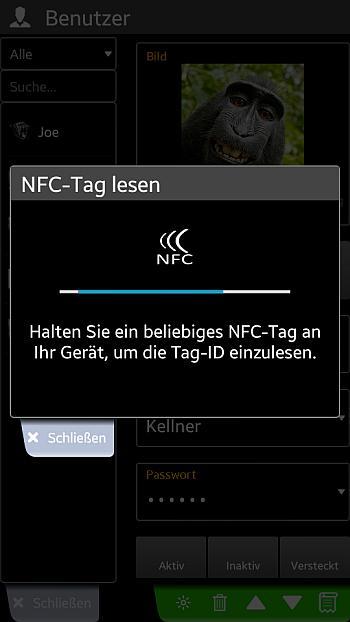 Screenshot Benutzer NFC-Tag einlesen