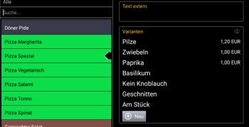 Variantenverwaltung für Pizzeria