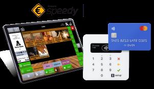 Tablet mit Kasse Speedy, SumUp Air Kartenterminal mit vorgehaltener Kreditkarte und Logos von Speedy und SumUp